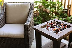 Great side table for drinks! It has a removable top, so you are able to fully use the table when you aren't using it as a cooler.