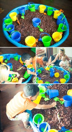 I think i'm gonna get a small plastic pool and do this for Kash's bday next month, so him and his friends can find dino bones!