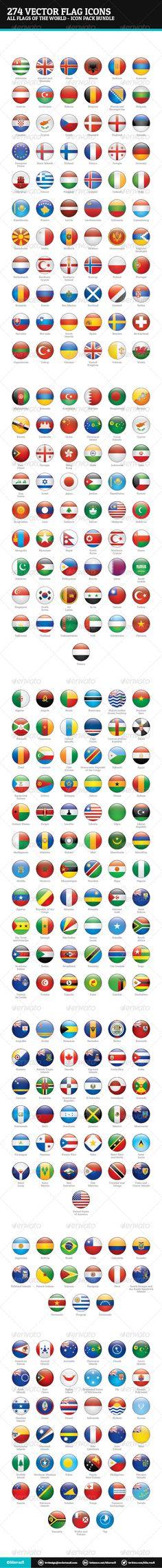 World Flags Vector - Icon Bundle #GraphicRiver World Flags Vector – Web Icons Bundle World Flags Vector Icon Bundle are a pack of 274 national flags icons. Icon pack includes these nations: Abkhazia, Akrotiri and Dhekelia, Aland, Albania, Andorra, Armenia, Austria, Azerbaijan, Belarus, Belgium, Bosnia and Herzegovina, Bulgaria, Croatia, Cyprus, Czech, Denmark, Estonia, Europe, Faroe Islands, Finland, France, Georgia, Germany, Giblartar, Greece, Hungary, Iceland, Ireland, Italy, Kazakhstan…