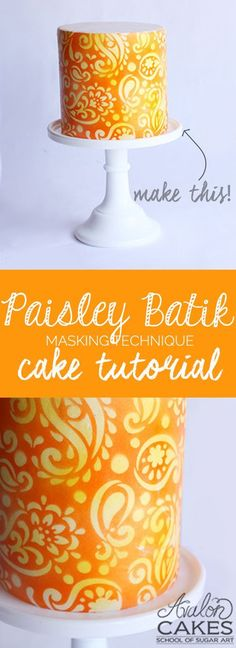 Paisley Batik Masking Technique Tutorial. Step by step video on how to use the masking technique to create this beautiful design on cake. Perfect for your next party!
