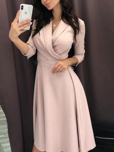 Shop Solid Ruched Wrap Casual Dress – Discover sexy women fashion at Boutiquefeel Women's Fashion Dresses, Dress Outfits, Fashion Clothes, Fashion Jewelry, Jw Mode, Cheap Dresses Online, Online Clothes, Look Fashion, Fashion Design