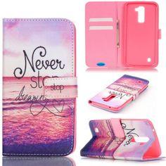 LG K7 Case, LG Tribute 5 Case,JanCalm Wallet Case,[Kickstand] Pattern Premium PU Leather Wallet [Card/Cash Slots] Flip Cover for LG Tribute 5 / LG K7 *Including-ONE Crystal Pen (Never stop dreaming)