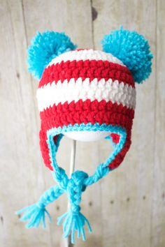 Crochet Dr. Seuss Inspired Earflap Hat   Cat by KKCrochetDesigns Newborn  Crochet 417f5c0450c7