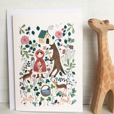 Hello! This is Fairytale note card, little red riding hoodgreeting card, girl notecard, girl animal and flowers stationey. The card is folded and the inside is blank. On this card my illustration inspired by the story of Little red riding hood is printed on high quality cotton rag paper