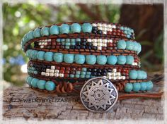 Beaded Leather Wrap/ Turquoise Leather Wrap Bracelet/ Seed