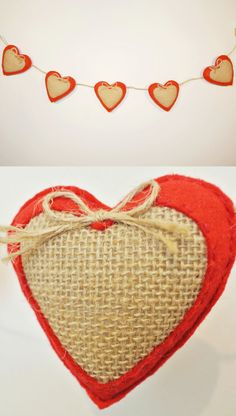 Felt Valentine's Day garland. Rustic Valentines Day decor. This simple and concise rustic garland will look wonderful in any interior. The combination of red felt and burlap will add comfort to your home. Felt heart bunting can be placed above the fireplace, on the wall, at the head of the bed, on the window. Felt heart garland can be used not only as a Valentines Day decoration but also add romantic mood in everyday life.