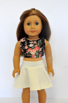 Black Floral Crop Top with Cream/Ivory Skater Skirt made to fit American Girl Doll 18 Inch Doll Clothes by CircleCSewing on Etsy