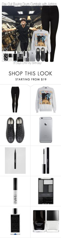 """""""3 Days Until My Birthday ~ Day Out Buying Drum Cymbals with Ashton"""" by elise-22 ❤ liked on Polyvore featuring Topshop, River Island, Converse, Stila, shu uemura, NARS Cosmetics, Wet n Wild, Agonist, Butter London and ASOS"""