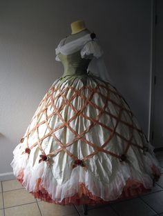 The Laced Angel: The Lattice Gown, Part 1 (Her stunning gown is inspired by an 1862 Danish fashion plate - the completed ensemble is spot on!)
