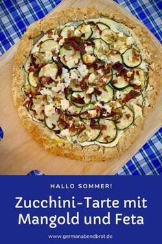 Tarte mit Zucchini und Mangold Zucchini Tarte, Feta, Brunch, Snacks, Yummy Food, Yummy Recipes, Vegetable Pizza, Quiche, Dinner