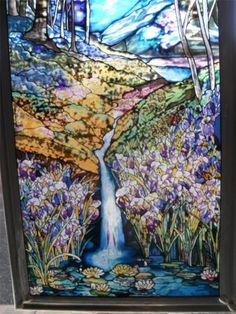 STUNNING! Stained Glass *Stream * Birch Trees * Mountains * Stream Water Lillies