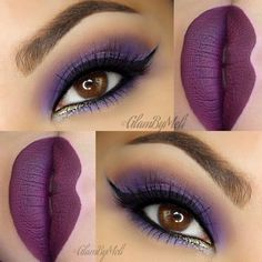 Deep berry lipstick complements the purple hued eyeshadow used in this gorgeous eye makeup. Get this look for your next night out with these amazing essentials.