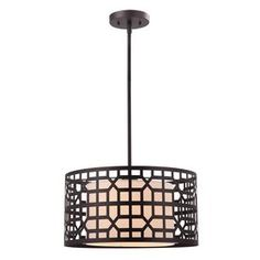 canarm kuan 16in w oilrubbed bronze pendant light with white shade