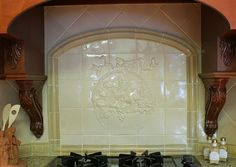 (But without the bow...) embossed tile backsplash - Google Search
