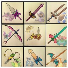 Nidoking: Sword, Arbok: Sword, Blastoise: Cannon blade, Golbat: Bow and Arrow, Sandslash: Claw glove, Venusaur: Sword, Vileplume: Claw glove, Nidoqueen: Sword, Charizard: Sword