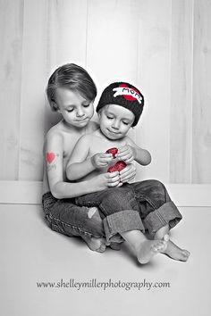 "Boys valentine photo. ""Special pose for mom"""
