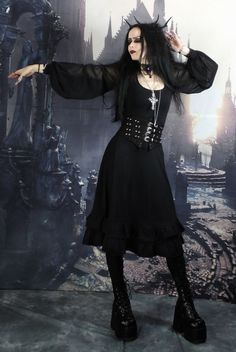 Walpurgis Dress - long cotton lycra steampunk goth witch dress by  Moonmaiden Gothic Clothing UK