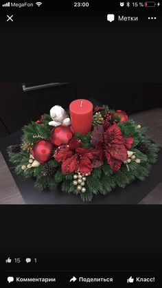 Christmas Candle Decorations, Holiday Centerpieces, Candle Centerpieces, Christmas Candles, Western Christmas, Christmas Deco, Christmas Wreaths, Christmas Ornaments, Christmas Flower Arrangements