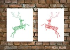 Set of 2 Christmas Reindeer Tribal Style Design Digital Art Prints, Red and Green, 8x10, Home Decor, Wall Art, Printable Art, Digital Prints