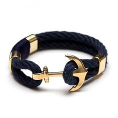 Anchor Bracelet - Navy/Gold