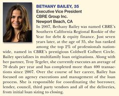 Congratulations to CBRE's Bethany Bailey on being named one of Real Estate Forum's 50 Under 40! http://ow.ly/DtUIn