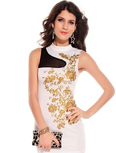 This Floral Foil Print Bodycon Dress features unique massive floral golden  foil prints on front. Floral golden foil prints on front b0f0eafbd
