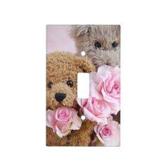 Two teddy bears holding roses switch plate covers #TeddyBears, #Roses, #KidsRoom, #Nursery