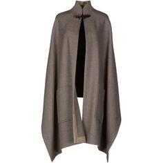 Chloé Cloak ($430) ❤ liked on Polyvore featuring outerwear, cape, jackets, cloaks, light grey, cape coat, chloe cape, turtleneck top, sleeveless turtleneck top and cloak cape
