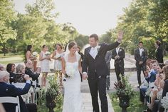 Recessional with Bubbles at Park Wedding