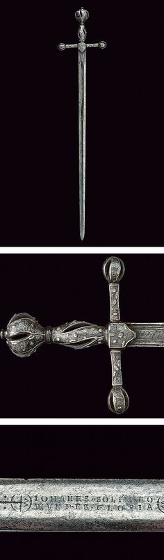 A silver encrusted cross-hilted sword,dating: early 17th Century provenance: England .