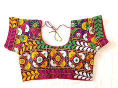 Indian Traditional Hand Embroidered Blouse,bollywood style Blouse,Vintage kutch embroidery blouse