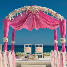 pink wedding mandap with hanging florals
