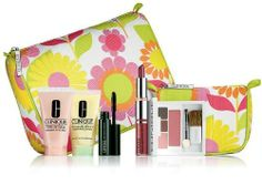 """Clinque Bonus Travel-Sized 7 pcs set: Moisture Surge, Square Compact, Lipstick, Lotion, Mascara, Bags by Clinique. $21.99. Clinique Bonus Travel-Sized 7 pcs. set Items maybe marked """"Not For Individual Sale""""."""