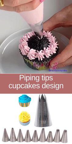 Cupcake Decorating Tips, Cake Decorating Frosting, Cake Decorating Designs, Cake Decorating Techniques, Cupcake Frosting Recipes, Cookie Decorating, Cupcake Frosting Techniques, Cupcake Cake Designs, Cupcakes Design