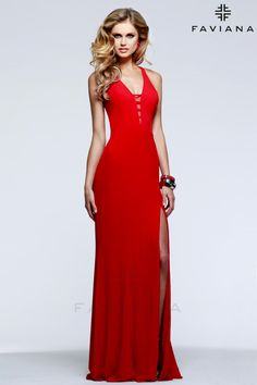 Be the center of attention in one of our sexy evening dresses. FAVIANA 7540  is a red v-neck long evening dress with strappy cut-out back bbe960ef0