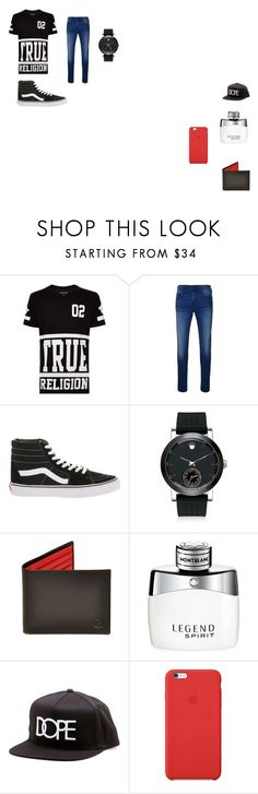 """""""Represent My friend"""" by ivieoww on Polyvore featuring True Religion, Vans, Movado, Montblanc, Dope, Apple, men's fashion and menswear"""