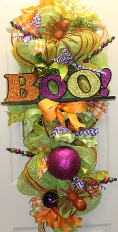 Halloween Mesh Boo Swag by southernchicbyle on Etsy, $60.00
