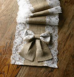 Burlap and lace table runners French country weddings shabby