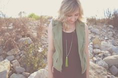 Long Leather Tassel Necklace Silver Gray and Bright Olive