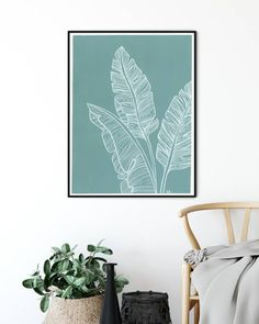Modern Art, Modern Design, Aqua Blue Color, Painted Leaves, Botanical Art, Line Drawing, Banana, Tapestry, Photo And Video