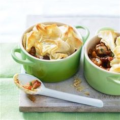 #Moroccan lamb pot pies recipe  These Moroccan spiced pies contain the much underused neck of lamb, which is often cheaper than other cuts. They are topped with filo pastry for a crispy finish.