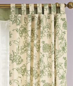 Curtains for the living room, green toile against white walls. No icky gold rod (maybe white, natural wood or black?).