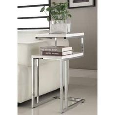 White Finish Chrome Side End Snack Table