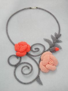 Bead embroidery necklace, rose and grey, seed beads necklace, beading necklace