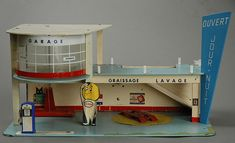 Vintage French 50's architecture Esso toy Gas Station