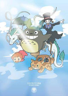 Studio Ghibli - Totoro, Ponyo, Chihiro, Spirited Away, Howl's Moving Castle Hayao Miyazaki, Studio Ghibli Art, Studio Ghibli Movies, Film Animation Japonais, Animation Film, Anime Sexy, Chat Bus, Personajes Studio Ghibli, Chibi