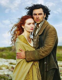 Photo of Demelza and Ross Poldark for fans of Poldark. Eleanor Tomlinson as Demelza Carne and Aidan Turner as Ross Poldark in the 2015 BBC TV series 'Poldark' Bbc Poldark, Poldark 2015, Demelza Poldark, Poldark Series, Poldark Season 1, Eleanor Tomlinson, Downton Abbey, Elizabeth Gaskell, Entertainment