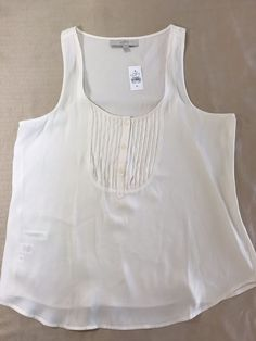 fd325baa0efde8 ANN TAYLOR LOFT Pleated Front shirt Tank Top Shell Size M Free Shipping   AnnTaylor