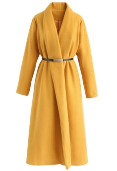 Charming Demeanor Longline Wool-Blend Coat in Mustard - New Arrivals - Retro, Indie and Unique Fashion