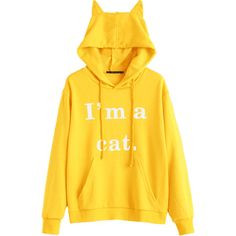 Front Pocket Letter Graphic Cat Hoodie Yellow S ($23) ❤ liked on Polyvore featuring tops, hoodies, cat hoodie, yellow hoodies, hooded pullover, graphic hoodie and cat top